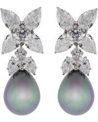 Fantasia Jewelry - Grey Pearl Drop Cubic Zirconia Flower Earrings - Lyst