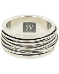 John Varvatos Tonal Sterling Silver Ring - Metallic
