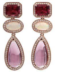 Dana Rebecca - Pink Tourmaline And Opal Earrings - Lyst