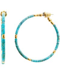 Gurhan Jet Set Turquoise Hoop Earrings - Multicolour