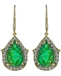 Sylva & Cie Carved Zambian Emerald And Diamond Earrings - Green
