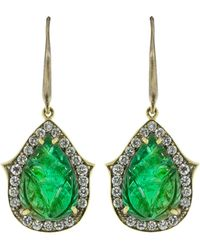 Sylva & Cie - Carved Zambian Emerald And Diamond Earrings - Lyst