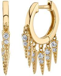 Sydney Evan Large Pave Diamond Fringe Huggies - Metallic