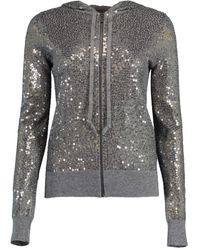 Michael Kors Sequin Embellished Cashmere Hoodie - Gray