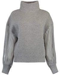 Brunello Cucinelli Organza Sleeve Cashmere Turtleneck Top - Grey