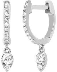 EF Collection - Diamond Teardrop Mini Huggie Earrings - Lyst