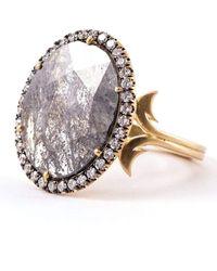 Sylva & Cie Oval Rough Cut Diamond Ring - Metallic