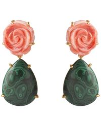 Bounkit Orange Sea Shell Flower & Malachite Earrings - Green