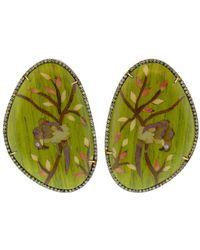 Silvia Furmanovich Green Bird Marquetry Earrings