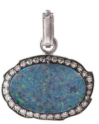 Sylva & Cie Opal And Diamond Pendant - Blue