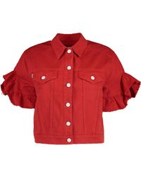 MSGM - Red Cropped Sleeve Denim Jacket - Lyst