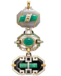 David Webb Chysoprase, Jade And Onyx Totem Pendant - Green