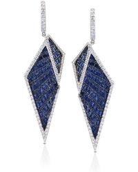 Kavant & Sharart Blue Sapphire And Diamond Origami Earrings