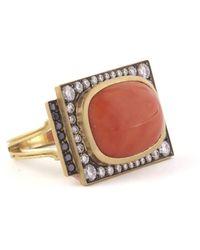 Sylva & Cie Renee Coral Ring - Multicolour