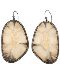 S. CARTER DESIGNS Walrus Tusk Slice Earrings - Metallic
