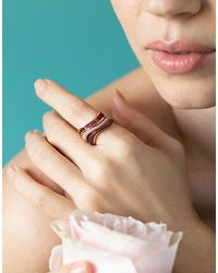 Kavant & Sharart Rose Gold Talay Diamond Pave Wave Ring - Pink