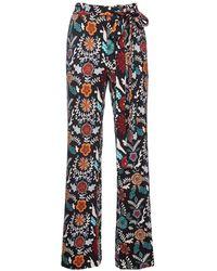 La DoubleJ Fire Flower In Punto Milano Jersey Slit Pants - Multicolour