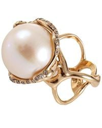 Lucifer Vir Honestus Fresh Water Pearl And Diamond Cocktail Ring - White