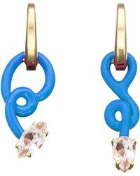 Bea Bongiasca Vine Baby Turquoise Hoops - Blue