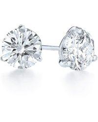Kwiat Round Diamond Stud Earrings - Blue