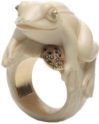 Bibi Van Der Velden - Frog With A Golden Leaf Ivory Ring - Lyst