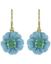 Irene Neuwirth Carved Turquoise Flower Drop Earrings - Blue