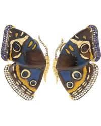 Silvia Furmanovich Blue And Yellow Marquetry Butterfly Earrings
