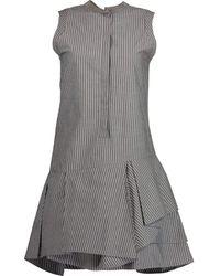 Brunello Cucinelli Sleeveless Striped Gathered Bottom Dress - Grey