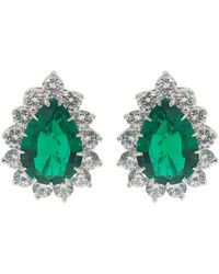 Fantasia by Deserio Large Pear Shaped Earrings - Green