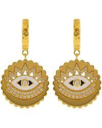 Buddha Mama Enamel And Diamond Evil Eye Drop Huggies - Multicolour