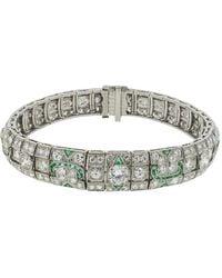Fred Leighton Art Deco Diamond And Emerald Bracelet - Metallic