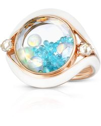 Moritz Glik Tourmaline Opal And Diamond Shaker Evil Eye Ring - Blue