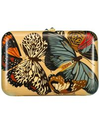 Silvia Furmanovich Blue Topaz And Marquetry Butterfly Clutch - Metallic