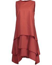 Brunello Cucinelli Terracotta Tiered Crewneck Mini Dress - Orange
