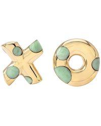 Retrouvai Green Turquoise Polka Dot Xo Earrings - Metallic
