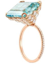 Lito Emerald Cut Aquamarine Diamond Ring - Blue