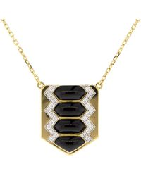 David Webb - Black Enamel And Diamond Shield Necklace - Lyst