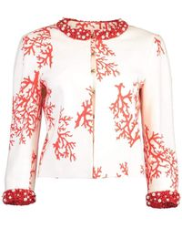 Andrew Gn Coral Print Beaded Jacket - White