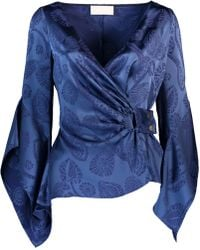 Peter Pilotto Satin Jacquard Wrap Blouse - Blue