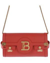 Balmain Logo Plaque Clutch Bag - Red