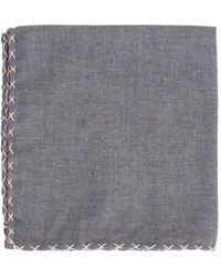 Eleventy Big Stitch Solid Pocket Square - Gray