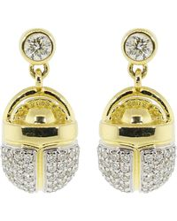 Pamela Love Pave White Diamond Scarab Drop Earrings - Metallic