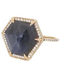 Monique Péan - Hexagonal Blue Sapphire And White Diamond Ring - Lyst