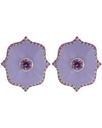 Bayco Small Purple Ceramic Lotus Earrings