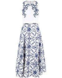 Marchesa notte Sleeveless Beaded Crop Top And Skirt - Blue