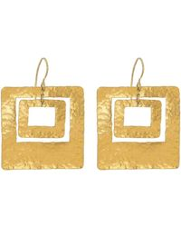 Boaz Kashi Double Square Hammered Gold Earrings - Metallic