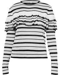 Giambattista Valli Striped Ruffle Knit Pullover Top - Grey