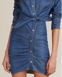 Veronica Beard Sierra Ruched Chambray Dress - Blue