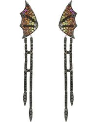 Stephen Webster - Fly By Night Long Pave Black Diamond Earrings - Lyst