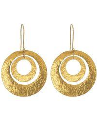 Boaz Kashi Double Circle Hammered Gold Earrings - Metallic